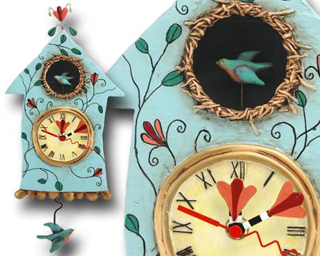 Rare bird fly clock
